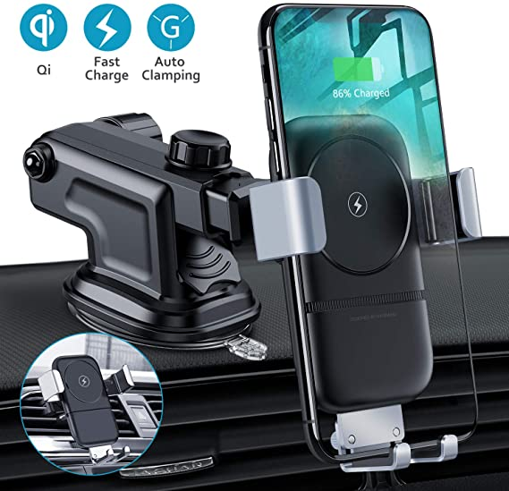 10W Gravity QI Wireless Fast Charger Dock Car Holder Mount For iPhone X XS MAX !