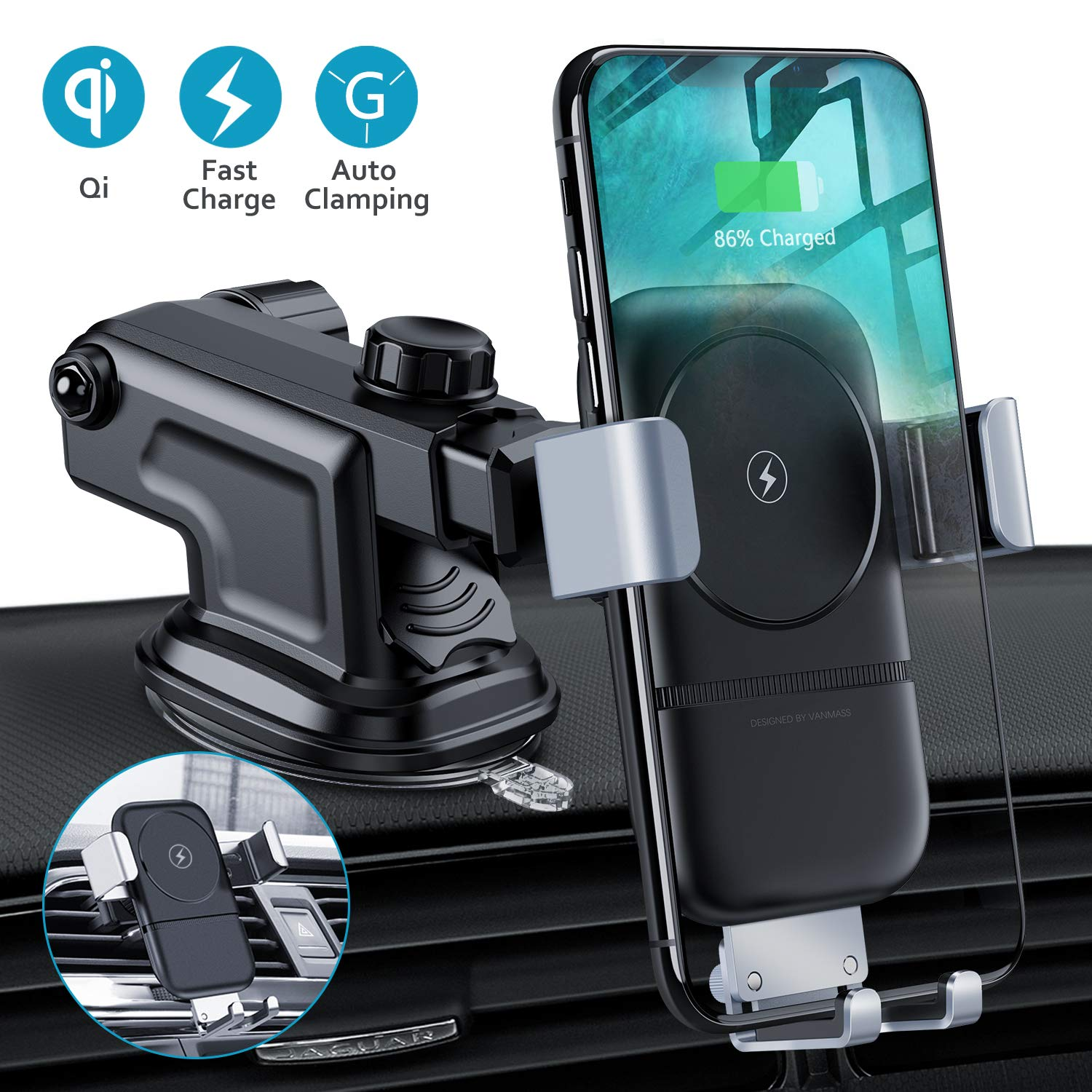 VANMASS Wireless Car Charger, 10W Fast Charging Gravity Car Mount, Air Vent Windshield Dashboard Phone Holder Compatible with iPhone Xs MAX/XS/XR/X/8/8+, Samsung S10/S10+/S9/S9+/S8/S8+/S7, Pixel/LG by VANMASS