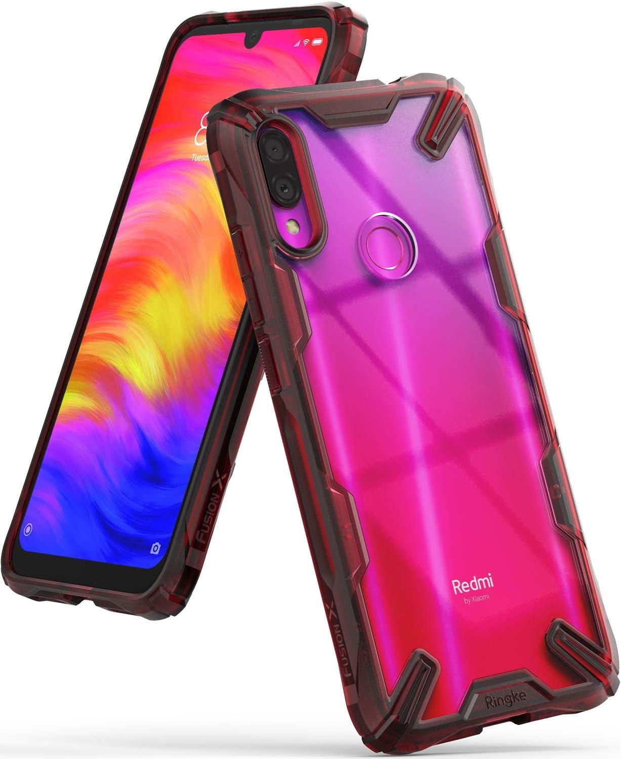 Ringke Fusion-X Diseñado para Funda Redmi Note 7, Funda Redmi Note 7 Pro Protección Resistente Impactos Carcasa para Xiaomi Redmi Note 7, Xiaomi Redmi Note 7 Pro (2019) - Ruby Red