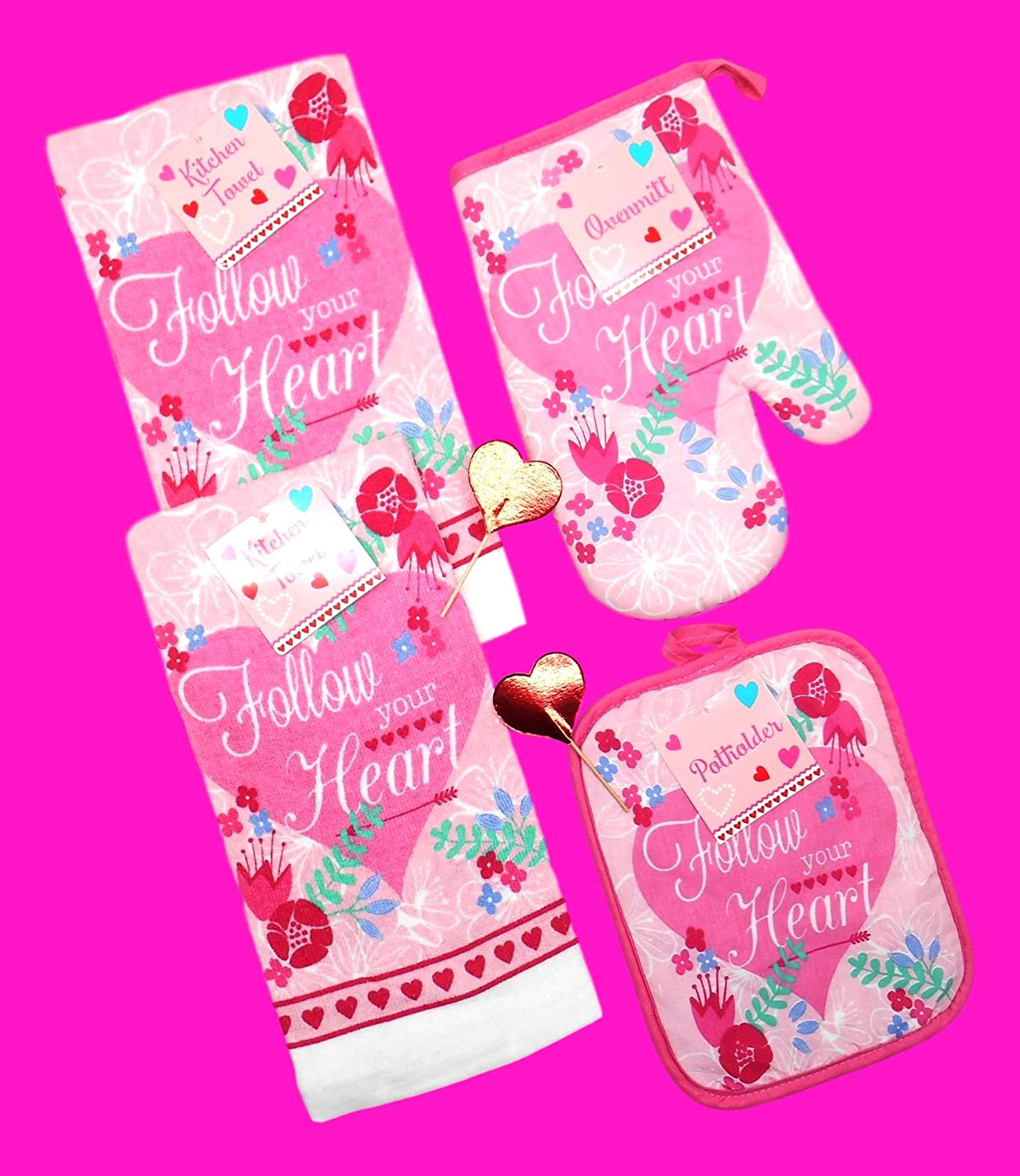 1 Oven Mitt and 2 Red Heart Picks Holiday Valentine Dish Towels Set Includes 2 Kitchen Towels Total of 6 pc Follow Your Heart - Heart 1 Pot Holder