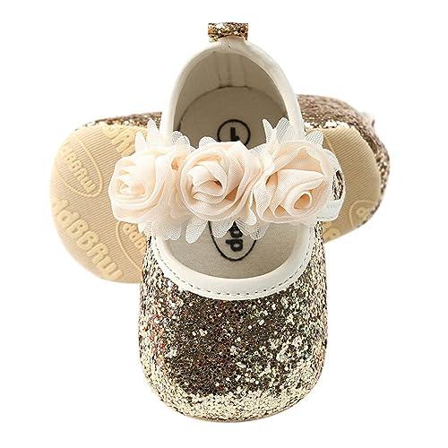 27fed9e84dea7 BOBORA Baby Girls Shoes Soft Sole Mary Jane Princess Sequins Crib Shoes,  Matching Headband