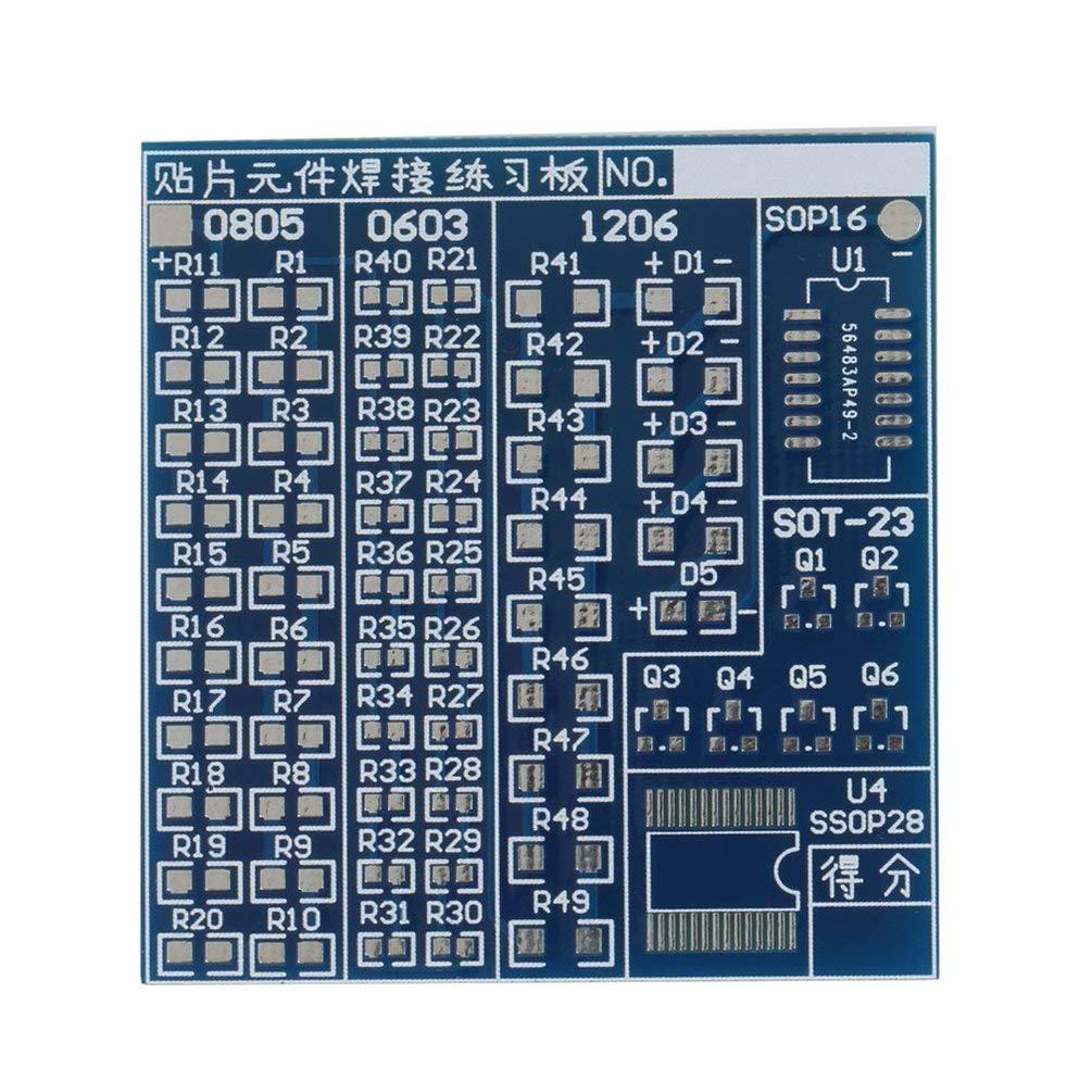 5.23CM Blue Durable 5V SMT SMD Component Welding Practice Board Soldering Practice DIY Kit Better US57 5.08