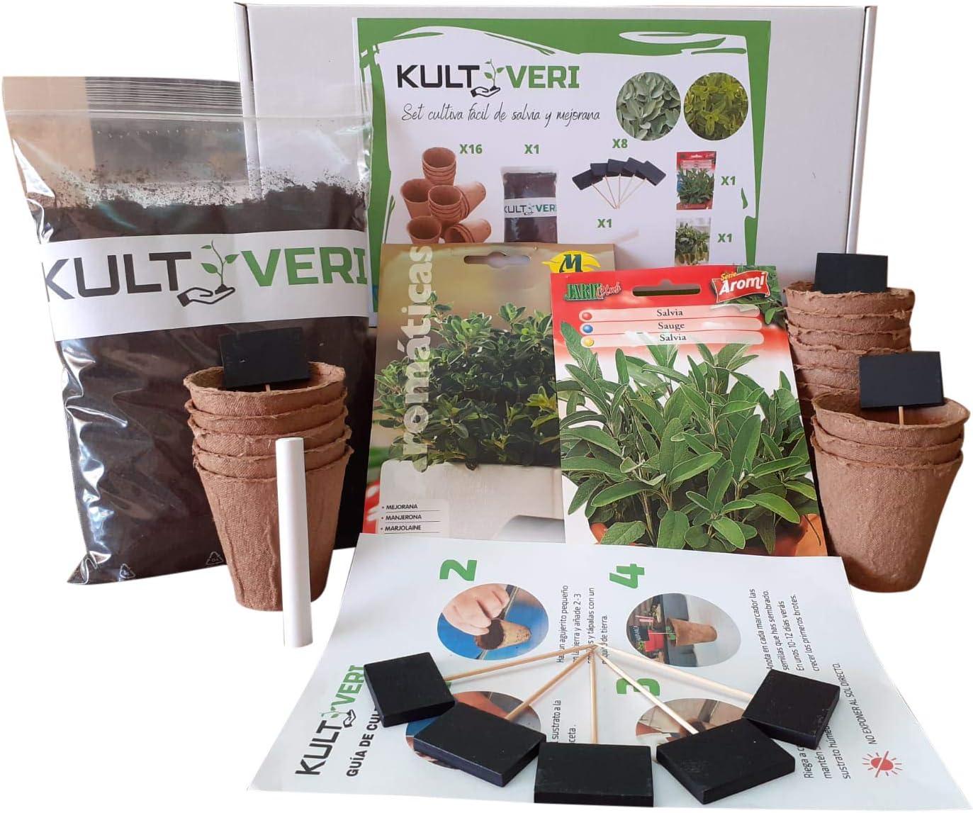 KULTIVERI Set de Cultivo de Salvia y Mejorana: Macetas de Germinación Biodegradables. CREA tu Propio Huerto en Casa.