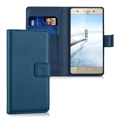 kwmobile Funda para Huawei G Play Mini - Carcasa de [Cuero sintético] - Case con Tapa y [Tarjetero] en [Azul Oscuro]