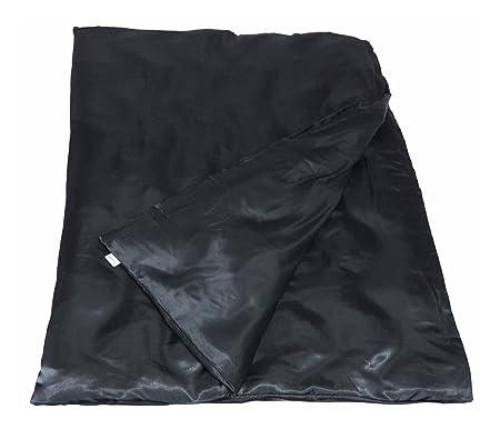 beties Glanz Satin Bettbezug 155x220 cm anschmiegsam & edel 100% Polyester in 3 beliebten Größen (Schwarz)