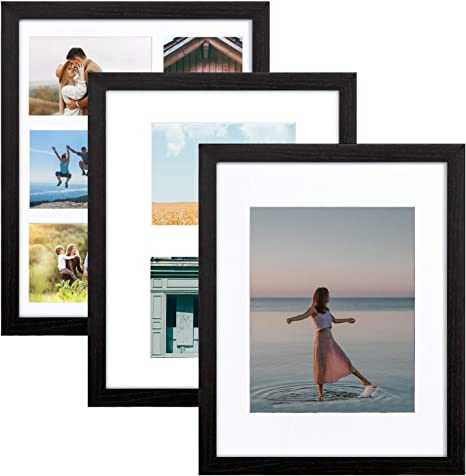 5x7 Frame Silver Metal Wide with Black with Optional Glass and Custom Matting