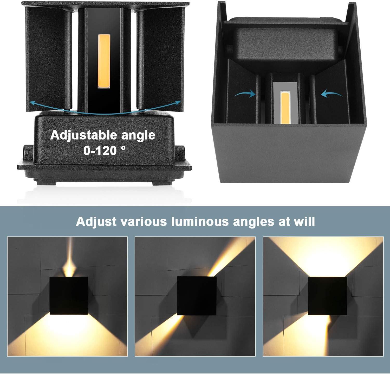 2 Stücke LED Wandleuchte 12W Innen/Außen Wasserdichte IP65 Wandlampe Mit Einstellbar Abstrahlwinkel Wandbeleuchtung Warmweiß 2800-3000K Schwarze Wandleuchte Warmweiß