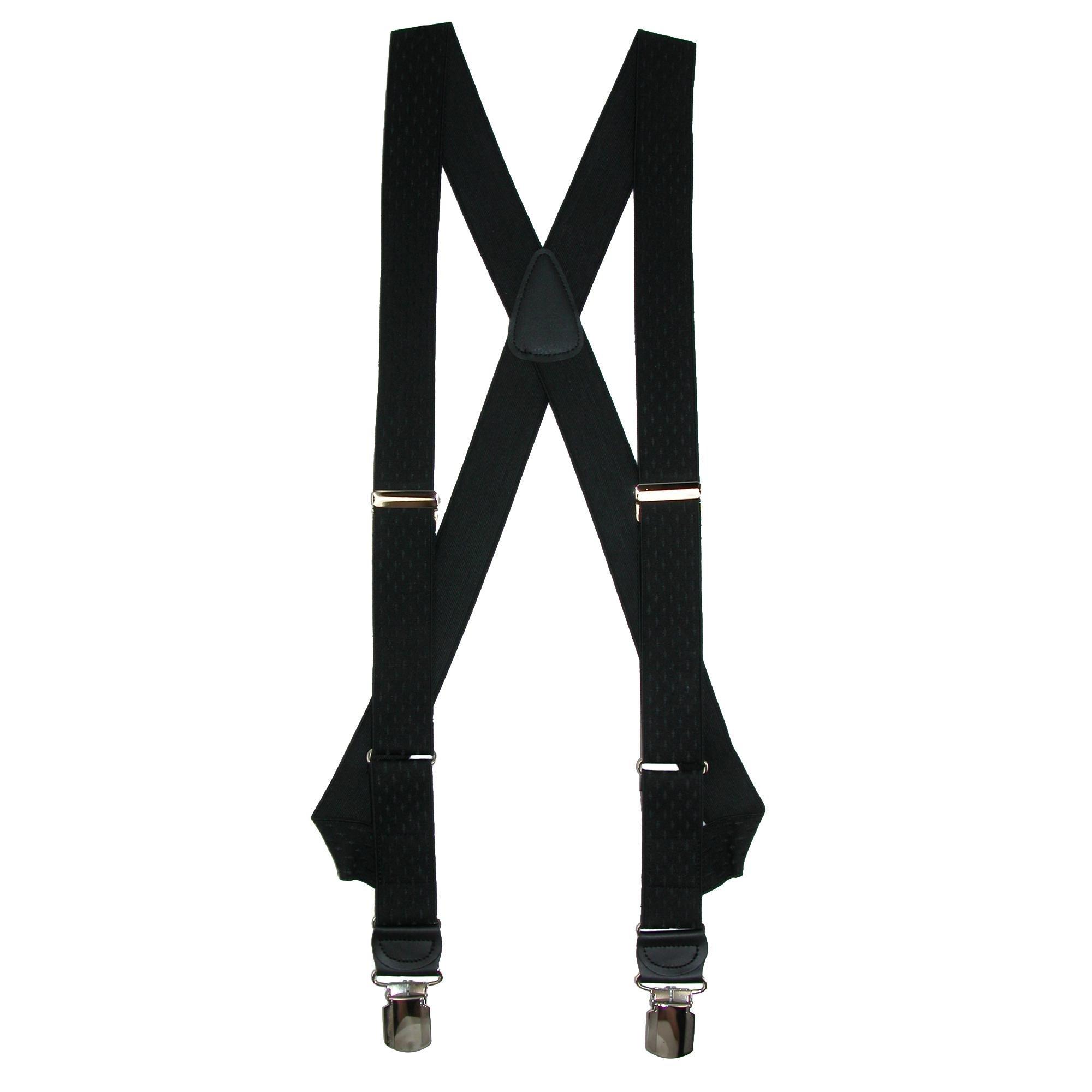 CrookhornDavis Men's Side Clip Elastic Jacquard Diamond Braces, Black