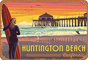 Jager Huntington Beach Retro Metal Decor Wall Plaque Vintage Tin Sign for House Cafe Club Home Or Bar