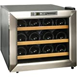 Wine Enthusiast 272 02 13W Stainless Steel/Wood Shelves Silent 12-Bottle Wine Cooler, Stainless