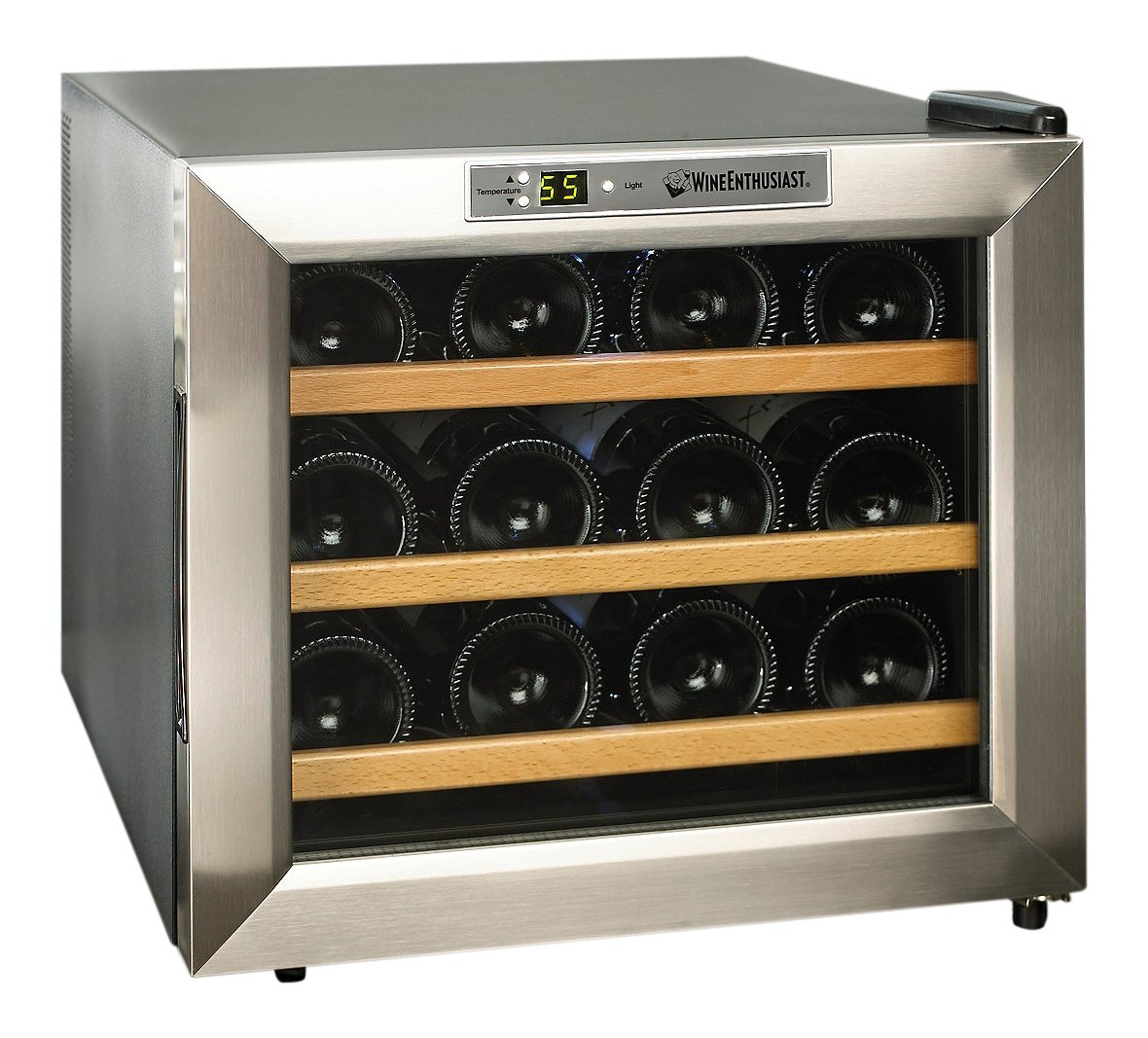 Wine Enthusiast 272 02 13W Stainless Steel Wood Shelves Silent 12 Bottle Wine Cooler Stainless