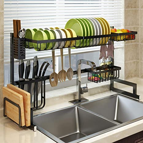 Galsoar Over Sink Dish Drying Rack Stainless Steel Kitchen Supplies Organizer Space Saver Length Adjustable 33 To 40 L Black