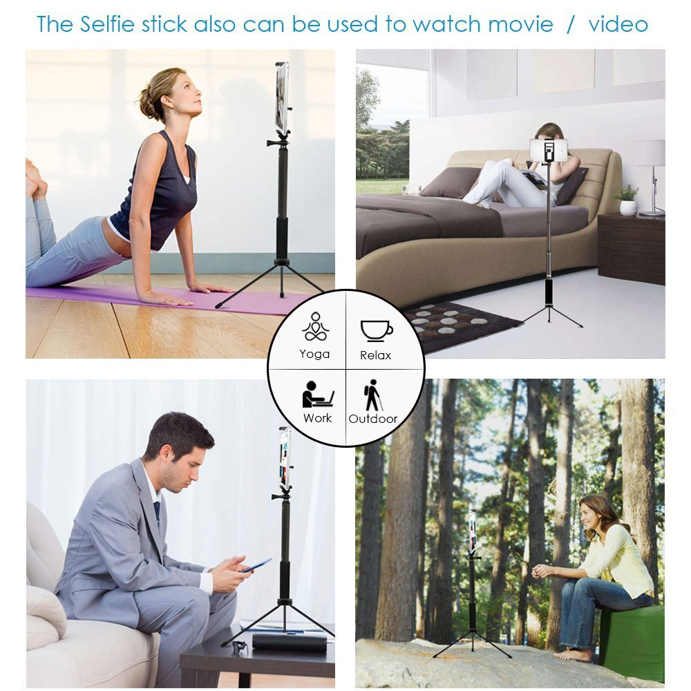 Bluetooth Selfie Stick with Tripod, Remote 59Inch MFW Extendable Monopod with Tripod Stand for iPhone X/8/7/6/Plus,Tablet,Samsung S7/S8,Android,GoPro Cameras by MFW (Image #3)