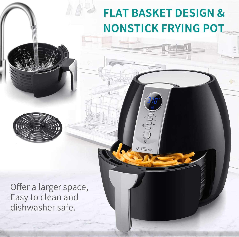 Ultrean Air Fryer 4.2 Quart - Flat basket design Non stick