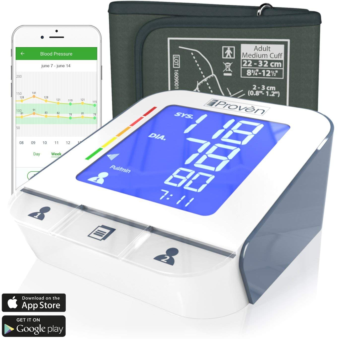 iProvèn Blood Pressure Monitor Clinical Upper Arm -Premium Technology: Double Pulse Detection Technology - Lightning Fast (30-40 sec) Highly Accurate - Free App and Medium Cuff (White-Gray)