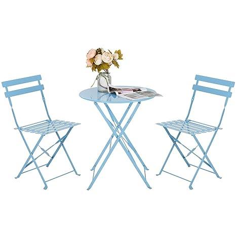 HollyHOME - Juego de Muebles de balcón Plegables de Acero al Aire Libre, 3 Piezas de Mesa y sillas Plegables, Color Azul