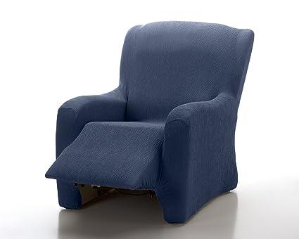 textil-home Funda de Sillón Elástica Relax Completo Marian, Tamaño 1 Plaza Desde 70 a 100Cm. Color Azul