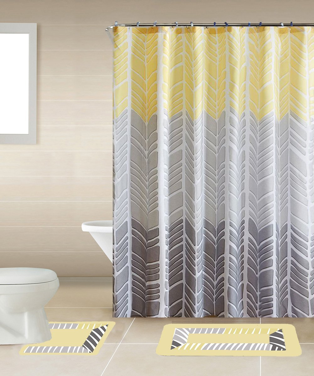 Yellow and gray shower curtain - Amazon Com Sonia Yellow Gray Multi Tone 15 Piece Bathroom Accessory Set 2 Bath Mats Shower Curtain 12 Fabric Covered Rings Home Kitchen