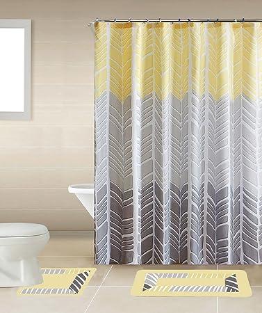sonia yellow u0026 gray multitone 15piece bathroom accessory set 2 bath