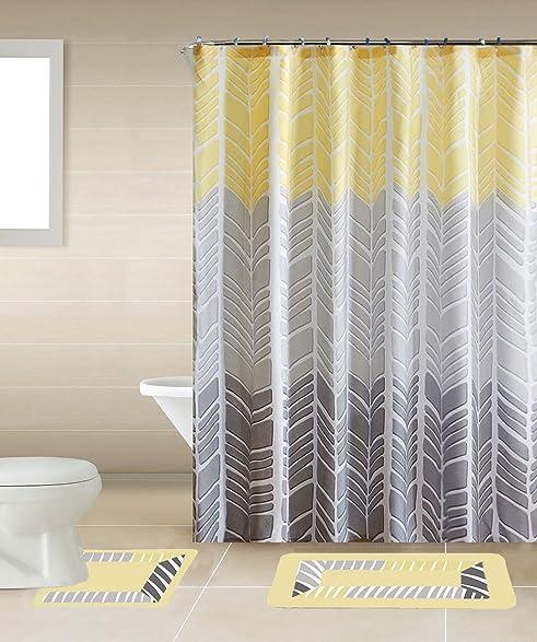 Sonia Yellow Gray Multi Tone 15 Piece Bathroom Accessory Set 2 Bath