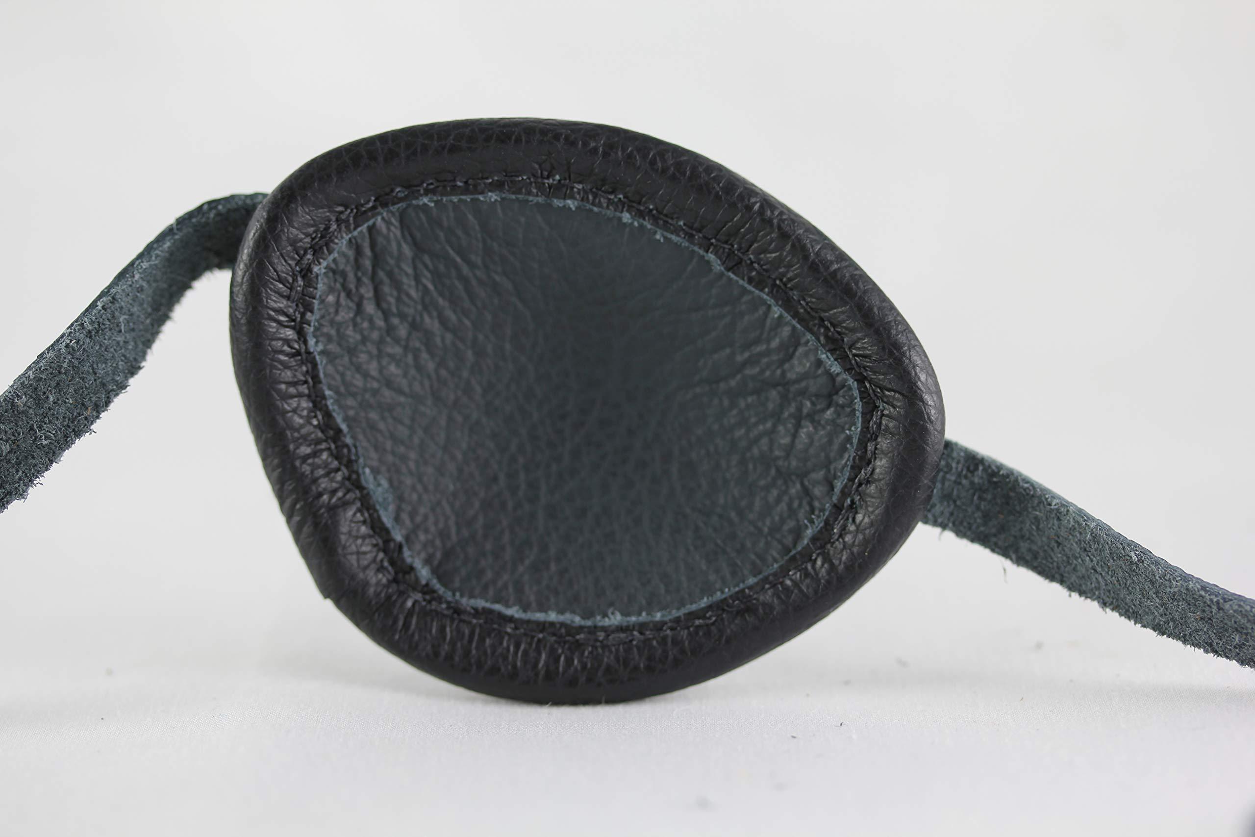 Leather Eyepatch. Slight Convex Eye Patch (Right Eye, Full Size Black) by Desantis Leather Goods (Image #2)