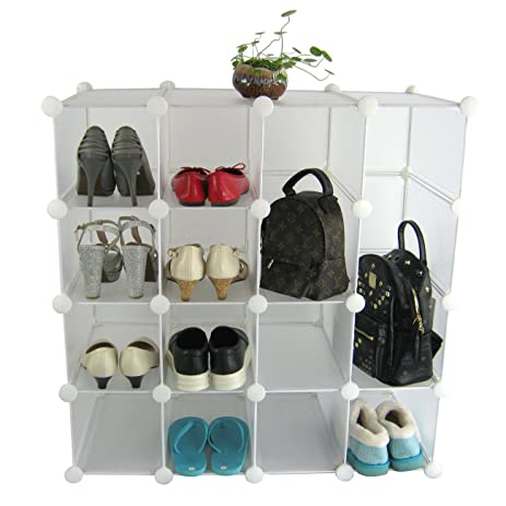 SunHome Multi Function 16x Interlocking Shoe Rack Organizer / DIY Storage  Shelves   Make Into