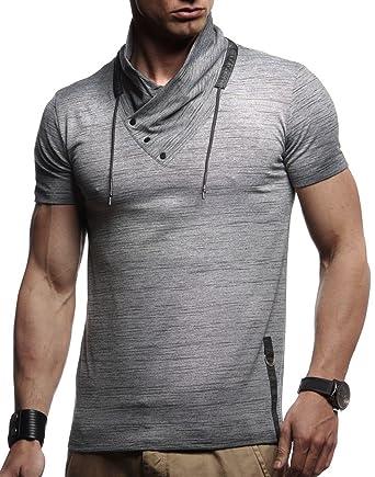 ce003c573a76 LEIF NELSON Herren trendiges T-Shirt Hoodie Sweatshirt Stehkragen  Ausschnitt Kurzarm Longsleeve modernes Basic Shirt Vintage Sweatshirt  LN990  Amazon.de  ...