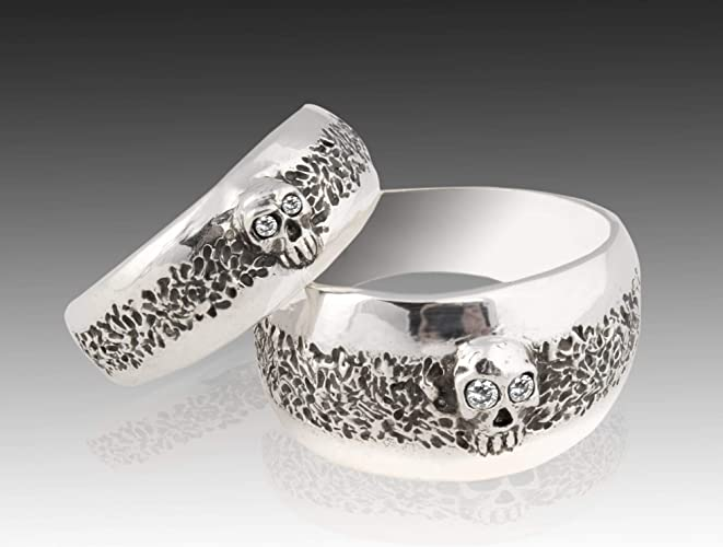 d1a531e8b2a84 Skull Wedding Ring Set, Sterling Silver Skull Wedding Ring set with  Diamonds.925