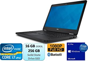 Dell Latitude E5550 15.6 Inch Full HD FHD 1080p Business Laptop Intel Core 5th Generation i7 i7-5600U 16GB DDR3L 256GB SSD Bluetooth Windows 8.1 Pro