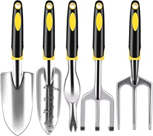 FEBSNOW Garden Tool Set - 5 Pieces Heavy Duty Gardening Tools Kit Include Garden Trowel, Garden Rake, Spade Shovel, Weeder, Cultivator for Men, Women