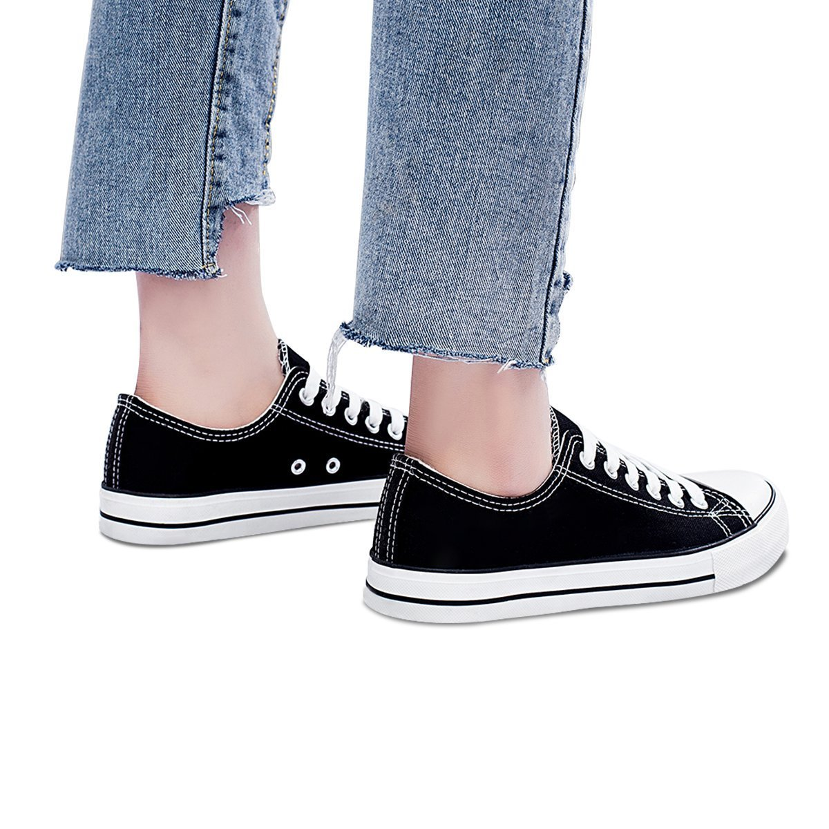 Womens Canvas Sneakers Low Cut Lace Ups Casual Walking Shoes(Black,US7)