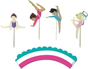 Gymnastics Party - Cupcake Toppers | Set of 12 | Gymnast Girls Cupcake Toppers | Food Pick