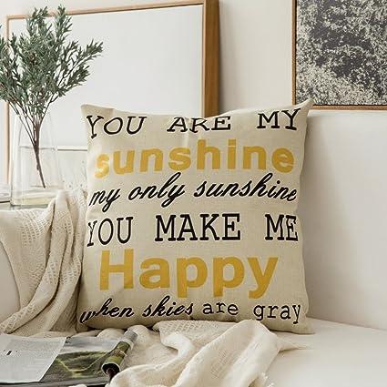 Amazon Miulee You Are My SunshineYou Make Me Happy Cotton Amazing Make Decorative Throw Pillows