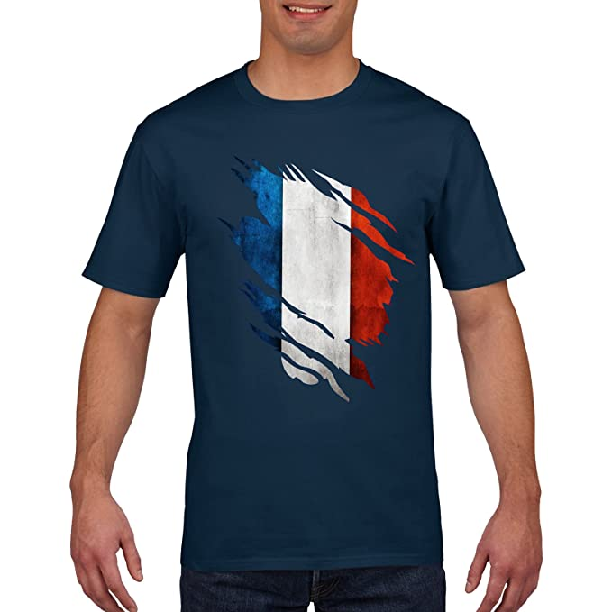 72f5891a349 France Francais Rugby T Shirt - Les Bleus, Torn Shirt Design, 6 Nations  Rugby, White and Red, Small Medium Large XL XXL: Amazon.co.uk: Clothing
