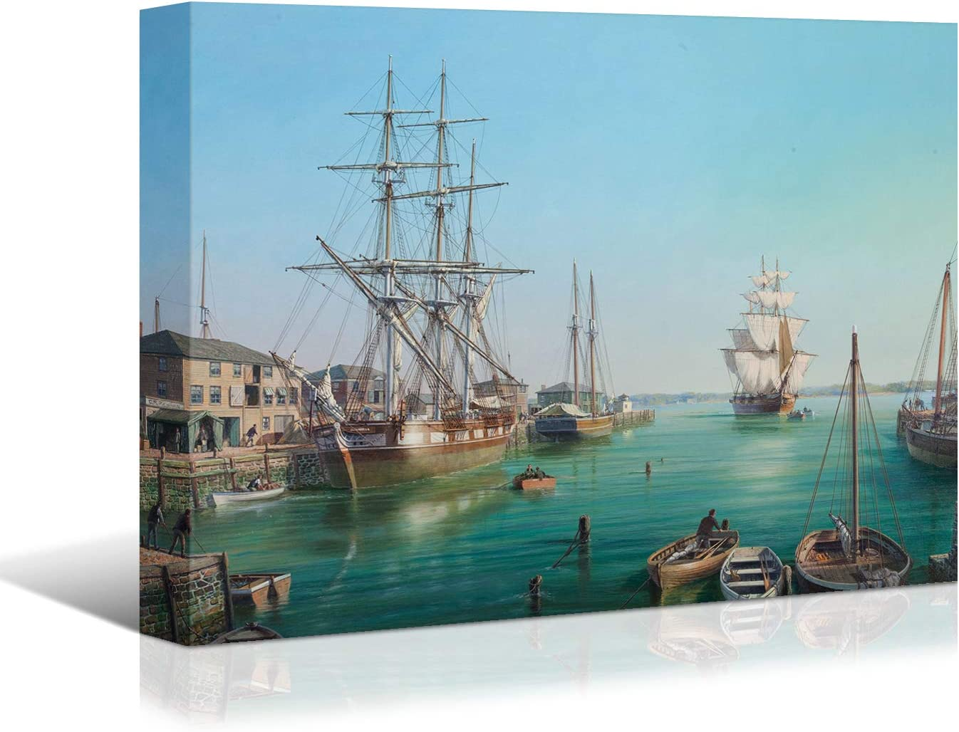 Looife Ocean Theme Canvas Wall Art, 48x36 Inch Sailing Boat with The Pier Coastl Picture Prints Wall Decor, Sailing Ship Painting Deco for Living Room, Bedroom, Bathroom and Hotel, Ready to Hang