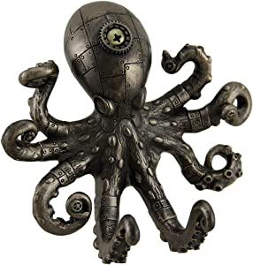 Resin Decorative Wall Hooks Antique Bronze Finish Steampunk Octopus Wall Hook 5 X 4.5 X 2 Inches Bronze