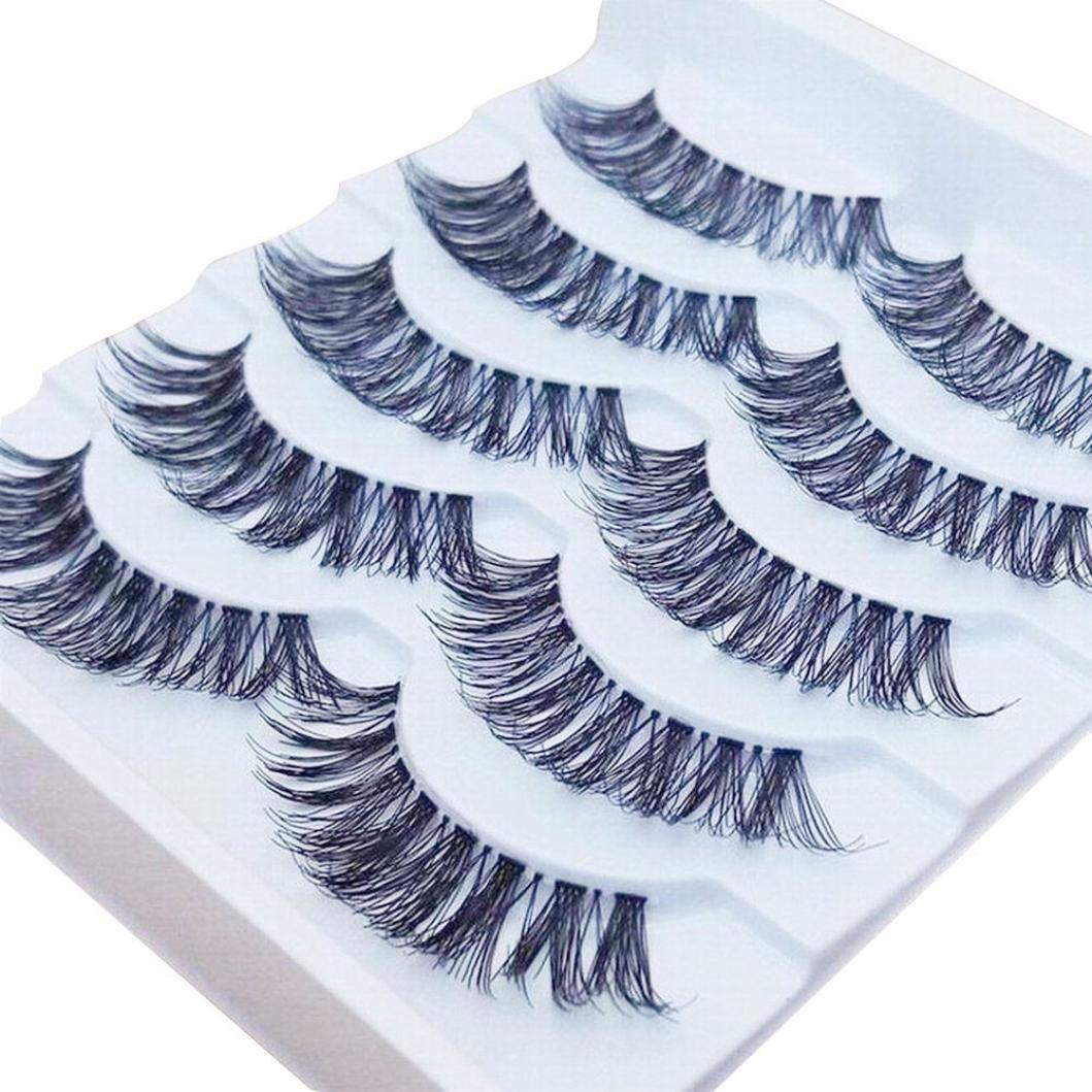 Jujunx 5Pairs Gracious Makeup Fake Eyelashes Handmade Natural Long False Eyelashes Extension Exquisite (Black)