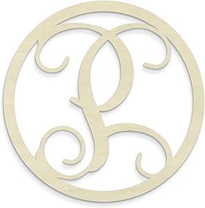 UNFINISHEDWOODCO Single Letter Circle Monogram-P, 19-Inch, Unfinished