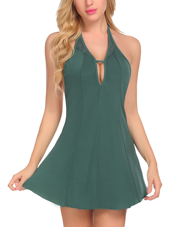 Avidlove Women Nightgown Halter Lingerie Chemise Nightie Silky Pajamas #ALL007085