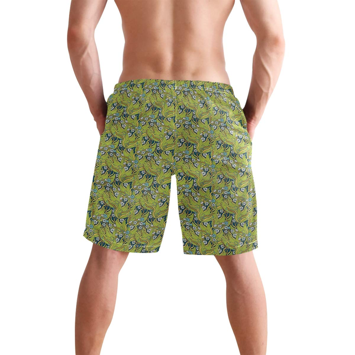 COVASA Mens Summer ShortsLarge Leaves Jungle