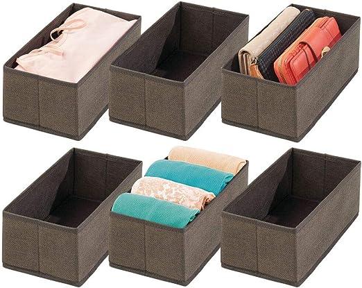mDesign Juego de 6 cajas para guardar ropa – Organizador de ...