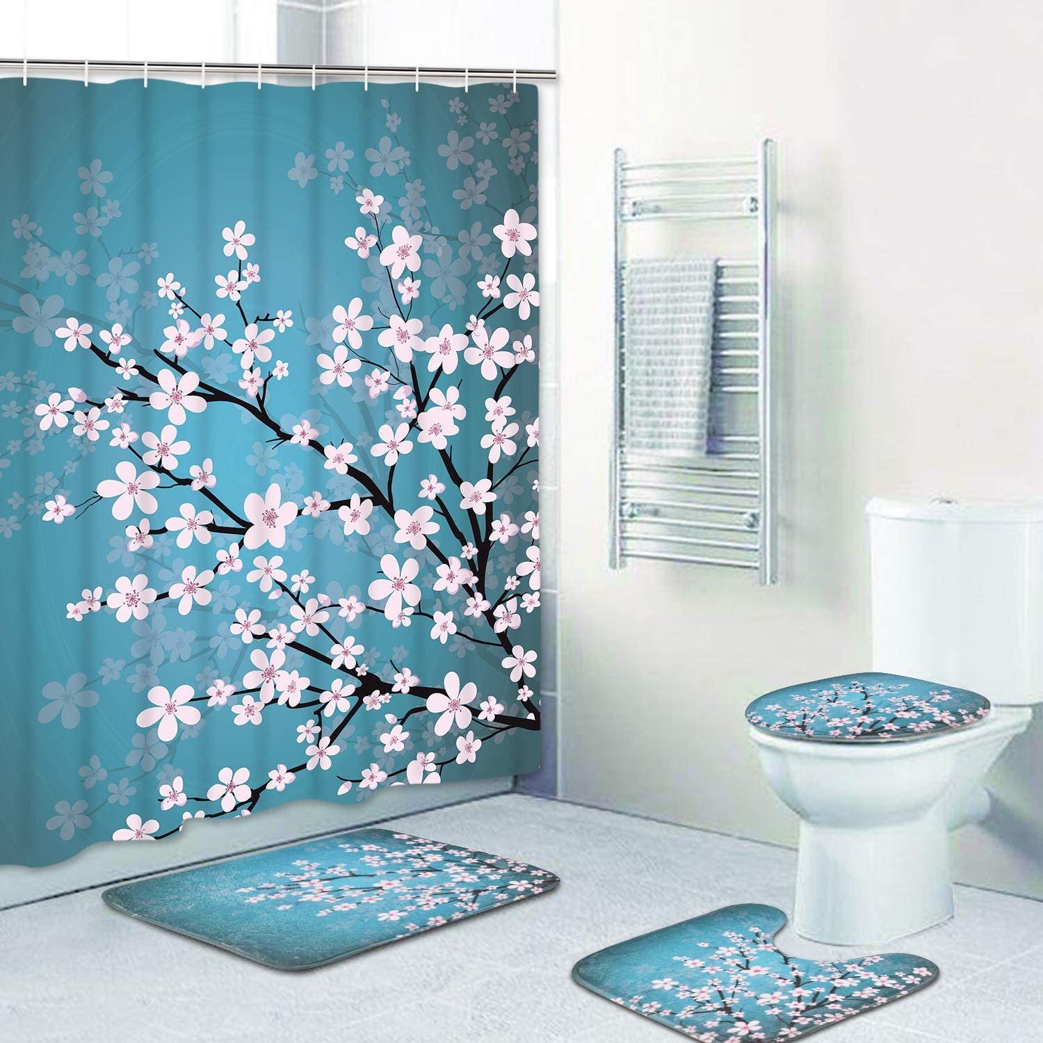 Cherry Blossoms Door Bath Mat Toilet Cover Rugs Shower Curtain Bathroom Set