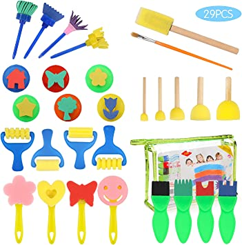 Pattern Brushes Set PHOGARY 29pcs Kids Paint Brushes and Sponge Set Children Toddler Paint Accessories Tool Kit DIY Foam Drawing Tool Early Education Aids
