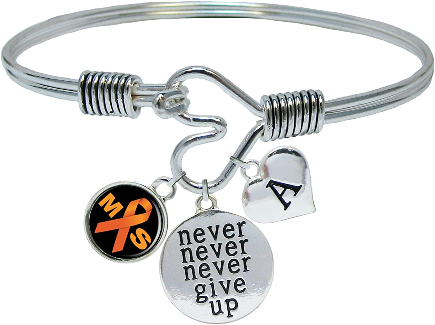 Sports Accessory Store Custom Multiple Sclerosis Awareness Never Give Up Bracelet Choose Initial