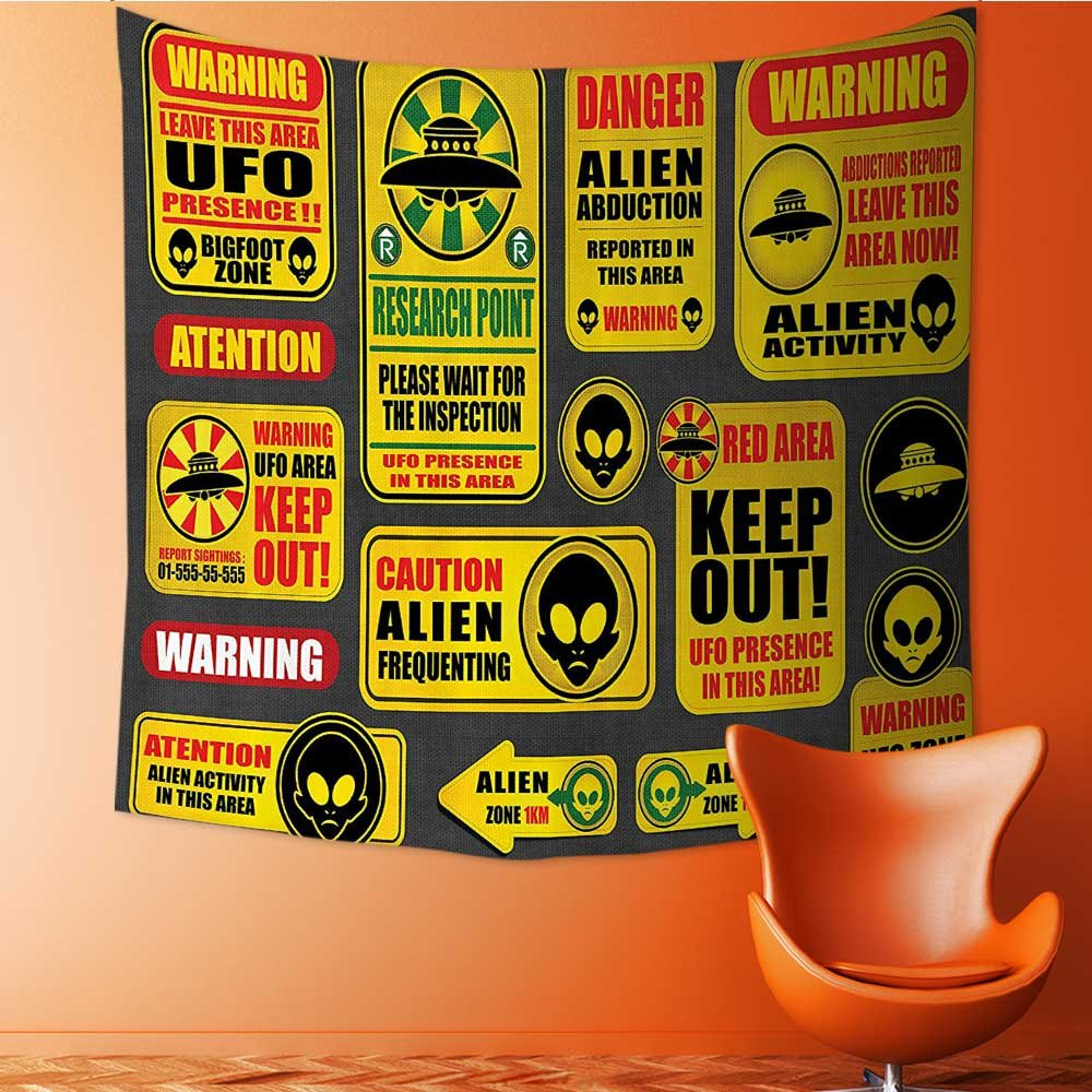 Nalahomeqq Outer Space Decor Custom tapestry by Warning Ufo Signs with Alien Faces Heads Galactic Paranormal Activity Design Fabric drawing room Decor Yellow 40 W x 60 L INCH