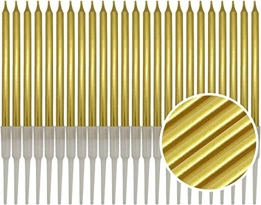 24 Pieces Birthday Cake Candles – (Gold)