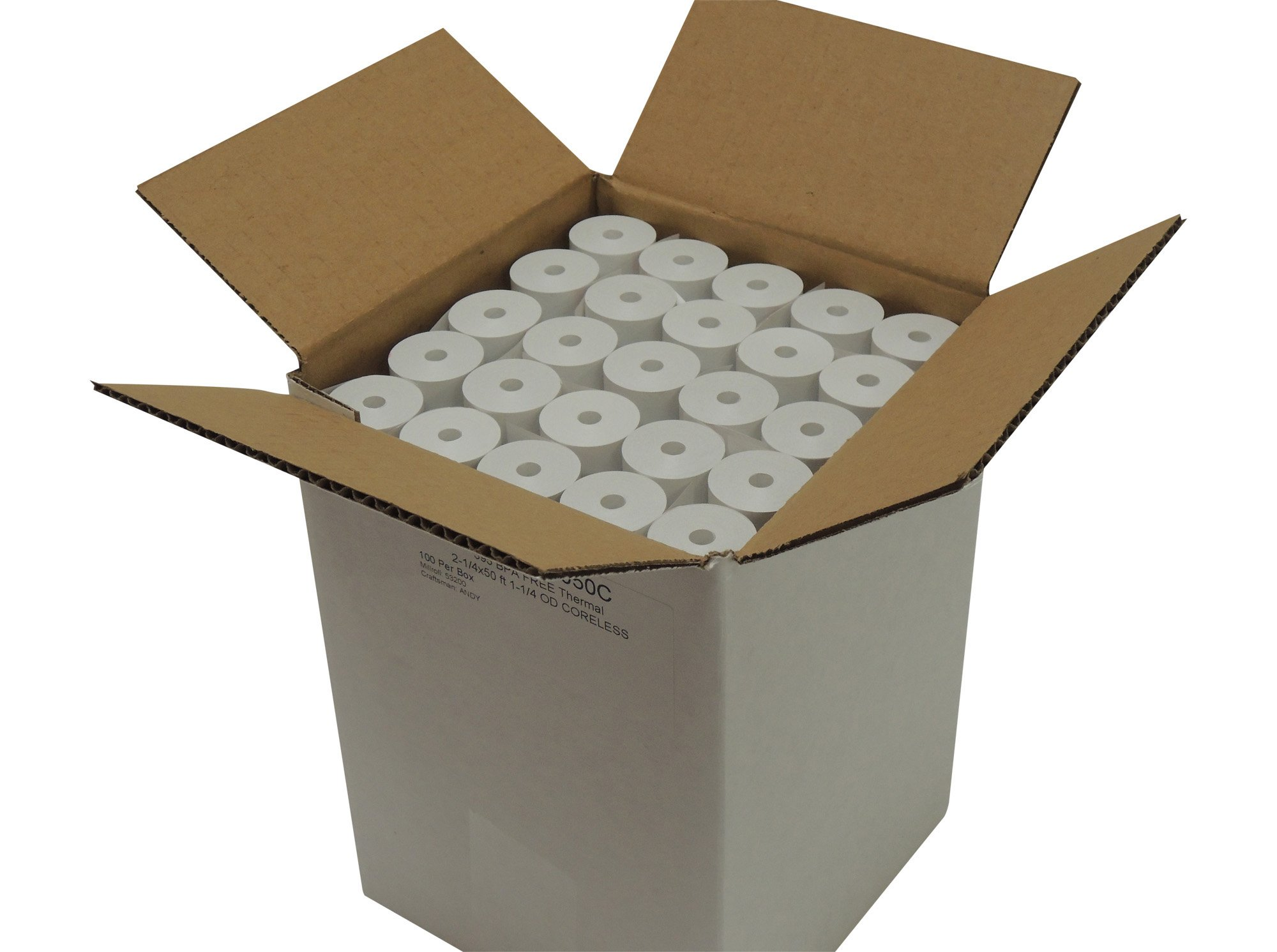 Thermal Paper 2-1/4'' x 50 ft, 1.25'' / 30mm Diameter, CORELESS, BPA Free, 100 Rolls by POS1 (Image #1)