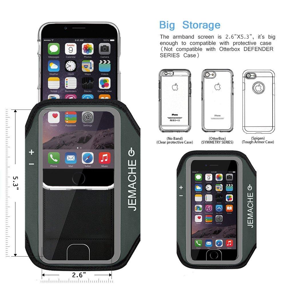 JEMACHE Brazalete para iPhone 6//6S//7//8 Plus Dactilares Touch Apoyo Exclusivo Running Pasear Ejercicio Gimnasio Deportivo Brazo Banda Armband para iPhone 6//6S//7//8 Plus Gris