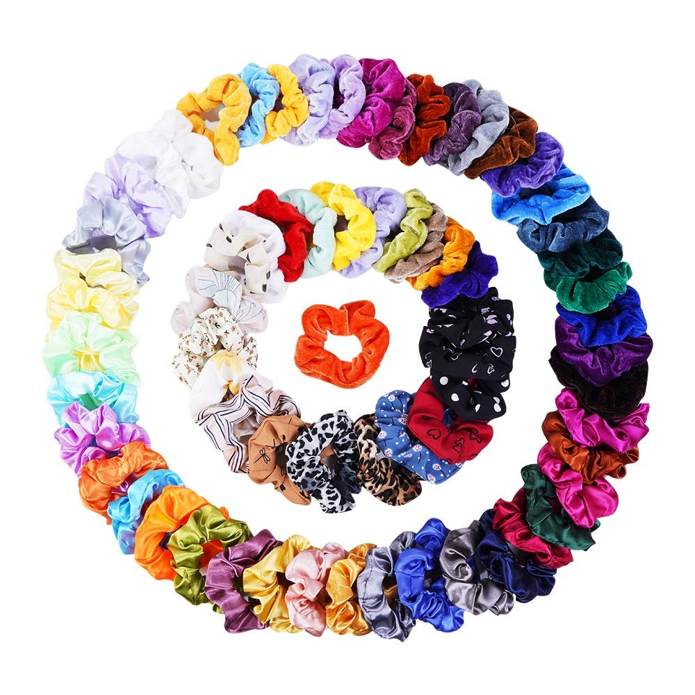 68 Pcs Hair Scrunchies Velvet,Chiffon and Satin Elastic Hair Bands Scrunchie Hair Ties Ropes for Women or Girls Ponytail Holder Hair Accessories