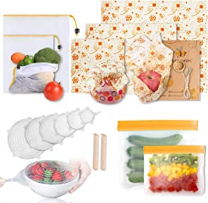 15 Pack Beeswax Wraps&Silicone Food Storage Bags&Silicone Stretch Lid Covers& Seal Clip& Mesh Bags, Reusable Food Wraps and Covers,Food Preservation Storage Set for Fruit, Snack, Lunch